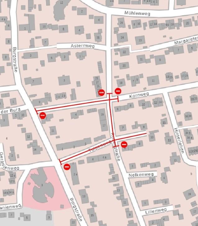 Wiederöffnung der Burgstraße und gleichzeitige Vollsperrung der Rosenstraße